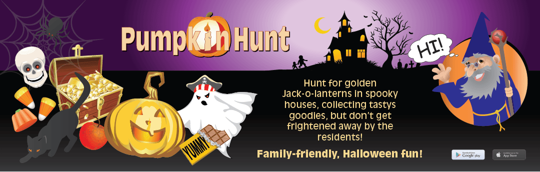 web banner advertising the game Pumpkin Hunt