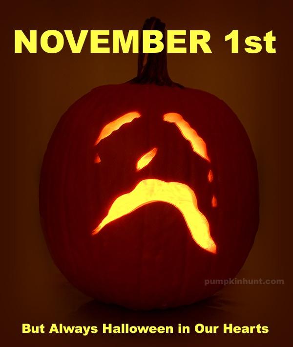 sad jack-o-lantern on November 1st